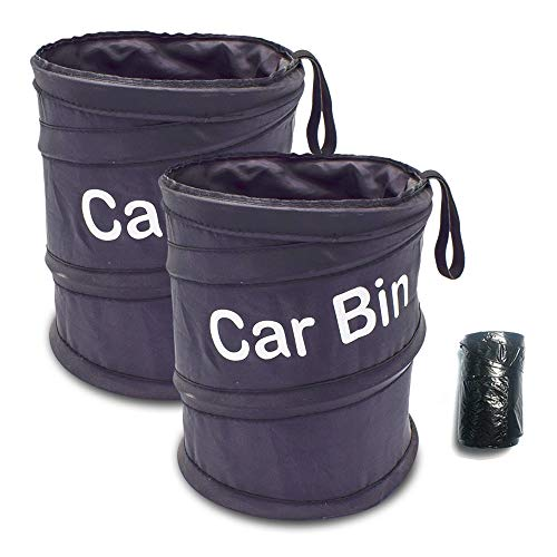 Cisture Car Garbage Can, 2 Pack Portable Outdoor Car Trash Can, Pop-up Folding Car Bin with Garbage Bags