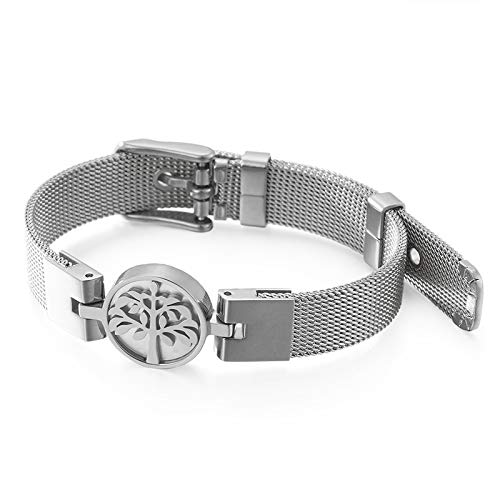 Bracelet-20.5cm (8 inches) stainless steel electroplated tree of life mesh strap bracelet, a holiday and birthday gift for friends and mothers