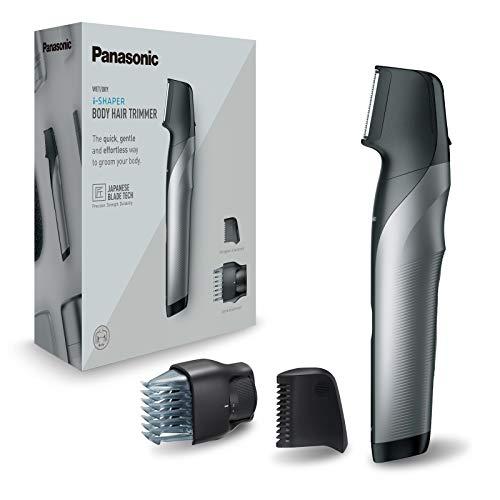 Panasonic ER-GK80-S503 Wiederaufladbarer Körpertrimmer für Herren (Klingenform, i-Shaper, Edelstahl, lange Akku-Laufzeit, Zubehör für feine Zonen, 20 Längen, 2 Kämme und Hülle) Schwarz