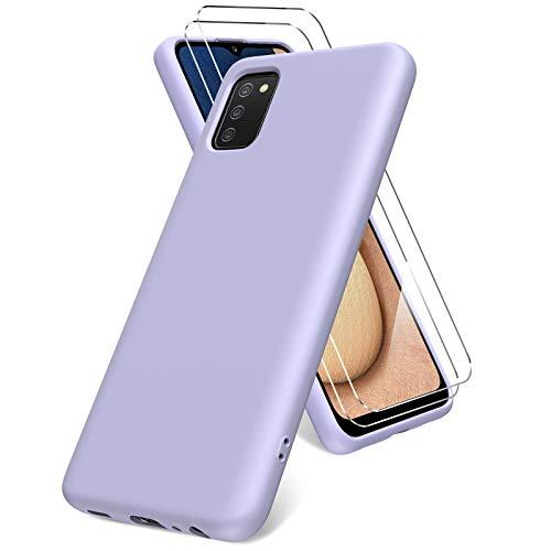 Vansdon Cover per Samsung Galaxy A02s, 2 Pellicola Protettiva in Vetro Temperato, Gomma Gel di Silicone Liquida Antiurto Custodia - Viola