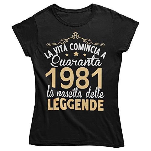 Vulfire Maglietta da Donna Idea Regalo per Compleanno, 1981 La Vita Comincia a Quaranta la Nascita...