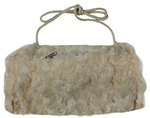 Ringelsuse - Kuscheliger Handwärmer, Muff für Mädchen und Damen größenverstellbare Baumwollkordel mit Innenfach-Tasche Fell 25 x 18 cm Fairtrade Creme-weiß