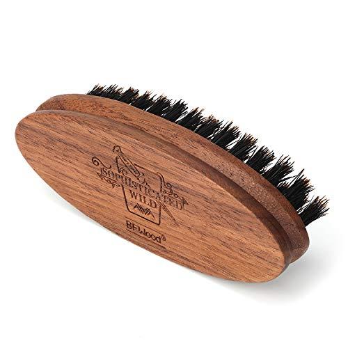 BFWood Pocket Beard Brush - Medium Firmness Natural Boar Bristle Mustache & Travel friendly