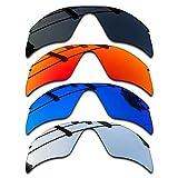 SEEABLE Premium Polarized Mirror Replacement Lenses for Oakley Radar Range Sunglasses - Dark Black+Silver Mirror+Blue Mirror+Fire Orange Mirror