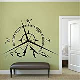 yaonuli Nautischer Kompass Wandtattoo Vinyl Wandkompass Rose Wandmalerei 68X31cm