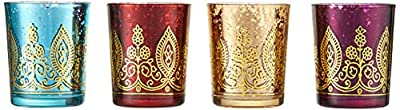 Kate Aspen Indian Jewel Henna Glass Votives, Tealight Candle Holders, Wedding Decorations/Favors, Assorted Colors (Set of 4) (20177NA)