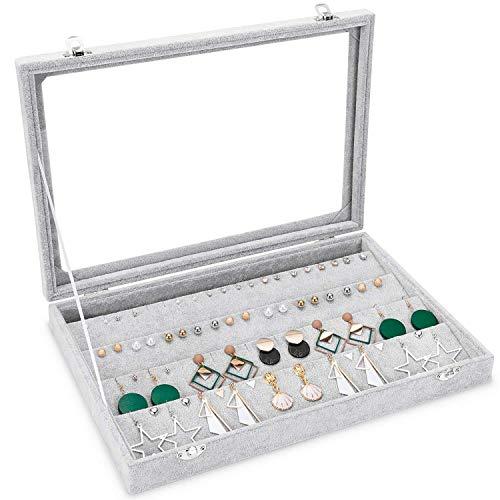 Basuwell Meshela Damen-Schmuckkasten Schmucklade Ringbox Schmuckkästchen für Halskette, Armband, Ringe und Ohrringe grau (Ohrring-Box)