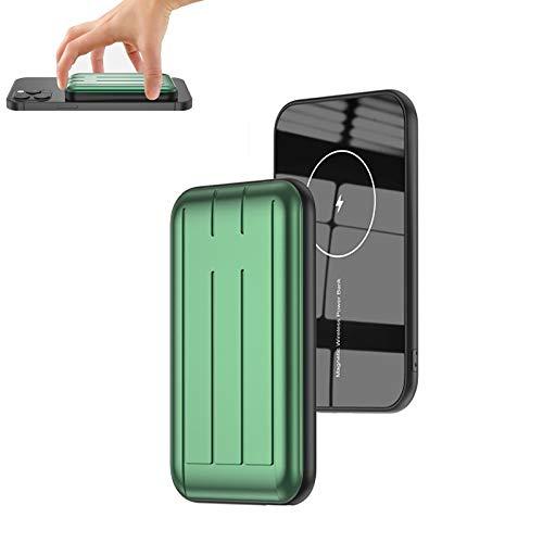 Cargador PortáTil InaláMbrico MagnéTico Mini mag-Safe 5000mah 15w con Pantalla LED Y USB C, BateríA Externa Adsorbible MagnéTica para iPhone 12 / Mini/Pro/Pro MAX (Verde)