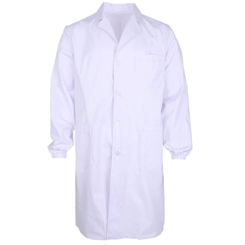 抑制する警察署物語D DOLITY 白衣 メンズ用男性ドクター医師診察衣 Vネック コットン ボタン付き 折り襟 制菌 全3サイズ