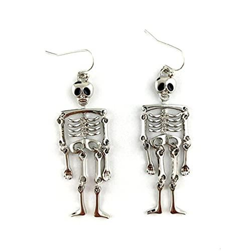 KunmniZ 1 par de Pendientes Colgantes de Calavera de Esqueleto Vintage de Halloween joyería para Mujer Accesorios de Cosplay para Fiestas Bonitos y Bonitos Pendientes para Hombre Cuadrados