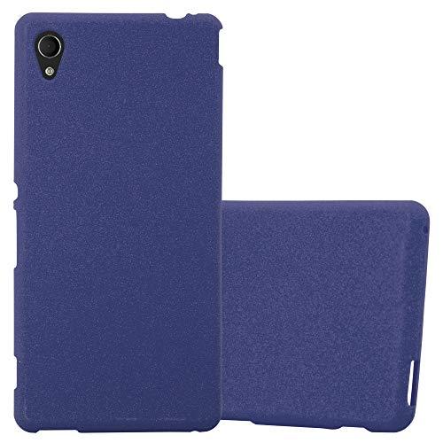 Cadorabo Funda para Sony Xperia M4 Aqua en Frost Azul Oscuro - Cubierta Proteccíon de Silicona TPU Delgada e Flexible con Antichoque - Gel Case Cover Carcasa Ligera