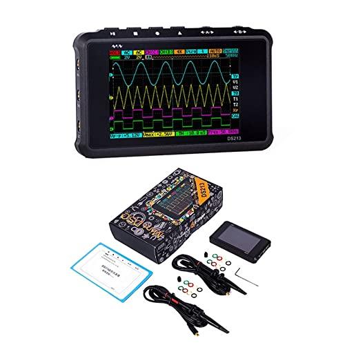 WEI-LUONG Osciloscopio DS213 Mini Osciloscopio Digital Pantalla LCD portátil 4 Canal 15MHz 100ms/ S USB Osciloscopio Almacenamiento de Bolsillo osciloscopio