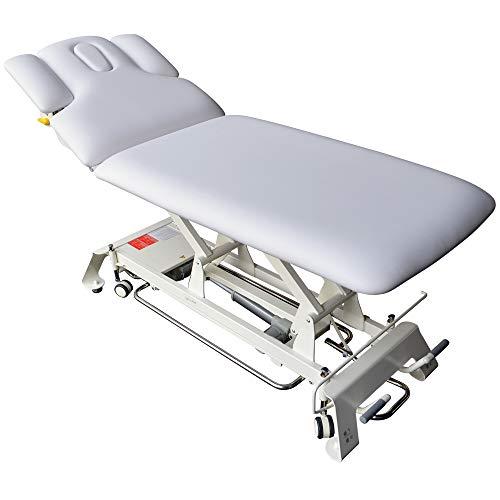 Elektrische Massageliege Houston Höhenverstellbare 2 Zonen Profi Behandlungsliege ca. 198 x 74 cm Kosmetikliege Therapieliege mit vielen Extras (Weiß)