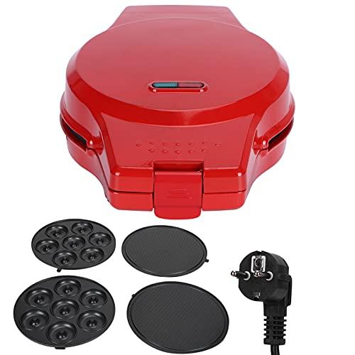Máquina para Hacer Gofres 3 en 1, Máquina para Hacer Donas con Calentamiento de Doble Cara con Placas Extraíbles Máquina de Desayuno Multifunción por Hacer Rosquillas, Waffles y Tortillas