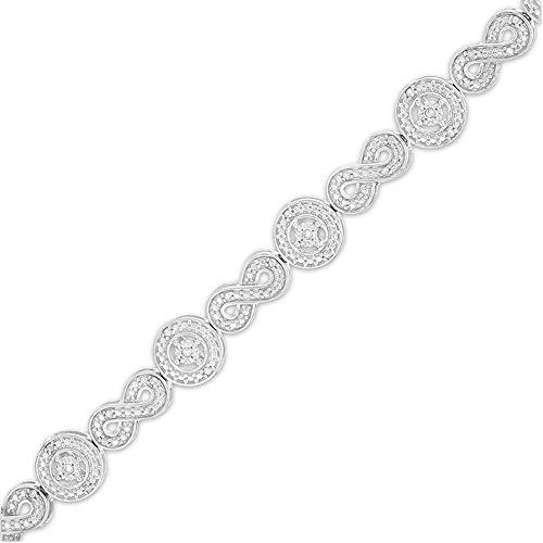 SLV Pulsera de eslabones de infinito y círculo de diamantes de 3,00 quilates T.W. para mujer en plata de ley 925