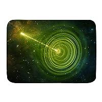 NIESIKKLA バスマット、ある宇宙を別の宇宙に接続できるワームホールまたはブラックホールの漏斗状のトンネル、マット滑り止め ソフトタッチ 丸洗い 洗濯 台所 脱衣場 キッチン 玄関やわらかマット 45x 75cm
