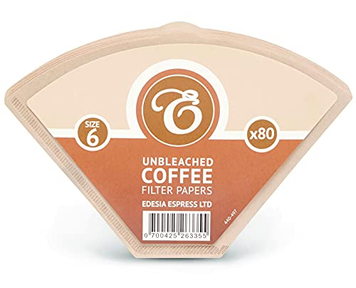80 Size 6 Brown Coffee Filter Paper Cones by EDESIA ESPRESS