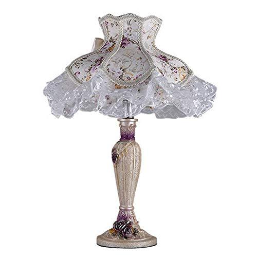 FREETT Lámpara de Noche Dormitorio, Lámpara de Mesa Vintage E27, con Pantalla de Tela, Lámpara de Escritorio Decorativa Sala de Estar, para Restaurante Ático, 40 * 51 cm