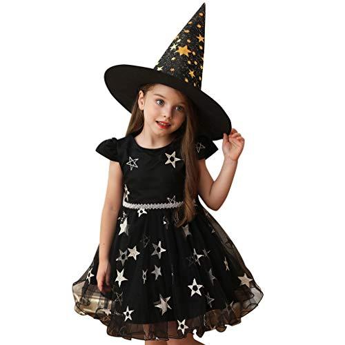 INLLADDY Kleid Mädchen Sternendruck Langer Rock Halloween Hexenkostüm Party Fasching Prinzessin Ballkleid Tutu Cosplay Kostum+ Hut Schwarz1 90