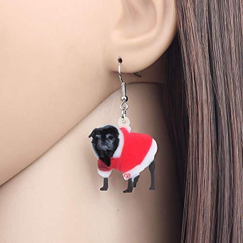 EHXWL Vestido de Navidad de acrílico Disfraz Pug Negro Pendientes de Perro...