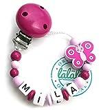 LALALO Schnullerkette Schmetterling mit Namen, Baby Schnullerhalter aus Holz, Handmade Individuelle Namenskette zur Geburt, Geburtstag, Weihnachten, Taufe für Mädchen (Pink Rosa)