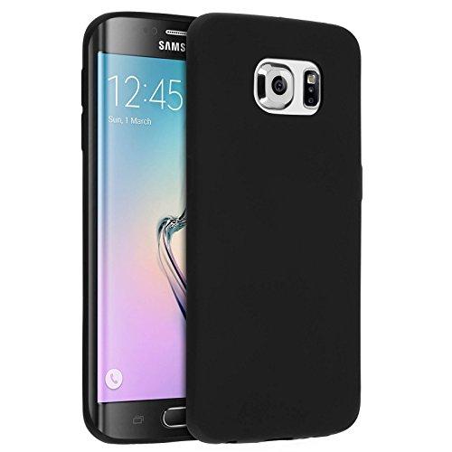 COPHONE® Coque Noir Samsung Galaxy S6 Edge, Housse Etui Noir en Gel TPU Silicone Souple Ultra Mince avec Anti Choc pour Samsung Galaxy S6 Edge