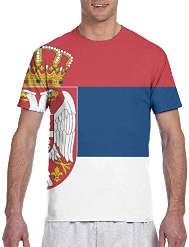 Männer T-Shirts Flagge von serbischen Kurzarm-T-Shirts Rundhalsausschnitt T-Shirt