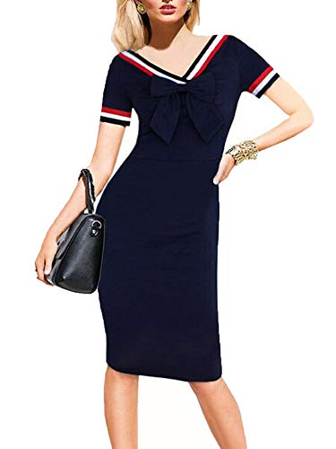 oxiuly Women's Print Dot Short Sleeve Bowknot V-Neck Casual Business Party Pencil Silm Bodycon Dress OX034