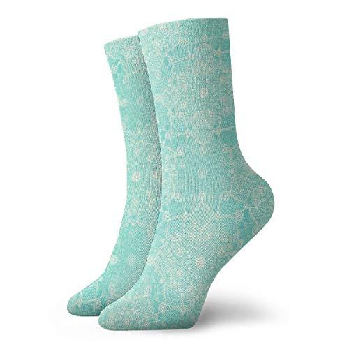 Cream Doodle Medallions On Tiffany Blue Cute Novelty Athletic Socks Hiking Walking Socks Outdoor Recreation Socks Wicking Cushion Crew Socks Mid Calf Design All season