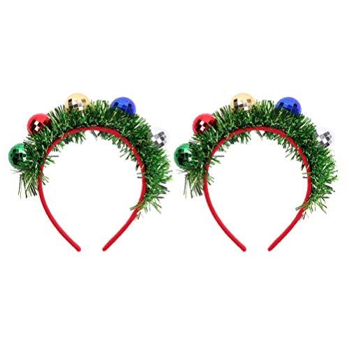 Holibanna - 2 unidades de cinta para el pelo con bolas de Navidad y guirnalda de lametas, para disfraz de Navidad, para niños y adultos