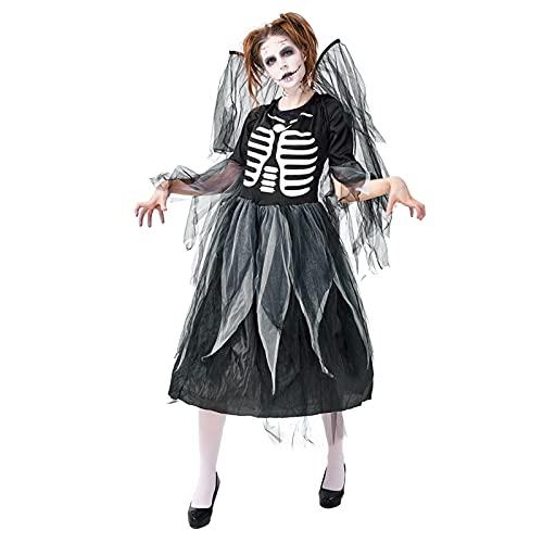 Frecoccialo 2 PCS Vestito Angelo Donna Halloween Costumi Carnevale Angelo per Adulto Costumi Strega Halloween Abito Stampa Scheletro+Ali M/XL (Nero, XL)