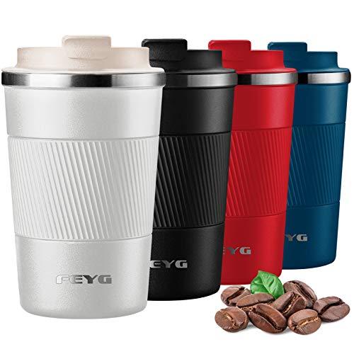 Thermobecher, FEYG Kaffeebecher thermo mit Auslaufsicherem Deckel, Edelstahl doppelwandig Isolierte kaffeebecher to go, coffee to go becher für heißes und kaltes Wasser Kaffee Tee 380 ml