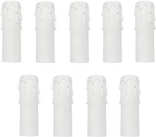 9 Piezas Manga para vela Funda para Portavelas Plástico Vela Casquillo para Candelabro Lámpara (3x10cm) Blanco