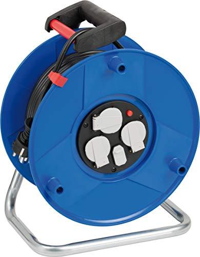 Brennenstuhl Garant Kabeltrommel 3-fach mit USB für den Innenbereich (Indoor-Kabeltrommel mit USB-Ladefunktion und 50m Kabel, ergonomischer Handgriff, Made in Germany), Blau