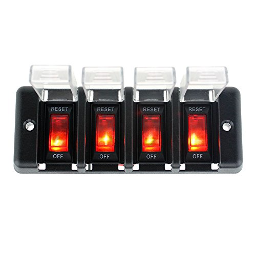 Preisvergleich Produktbild KKmoon 12 V Power Panel Schalter LED Indikator der Arbeit mit Box transparent für Schiff Navy 4 en 1