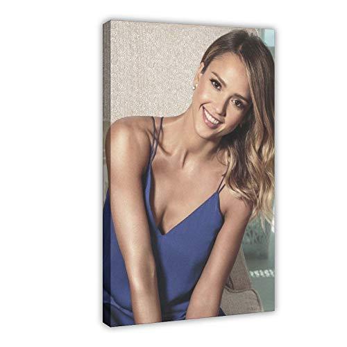 American Film And Television Attrice Jessica Alba 12 poster di tela di canapa decorazione della camera da letto Sport Paesaggio Ufficio Decor Regalo 60 × 90 cm Frame-style1