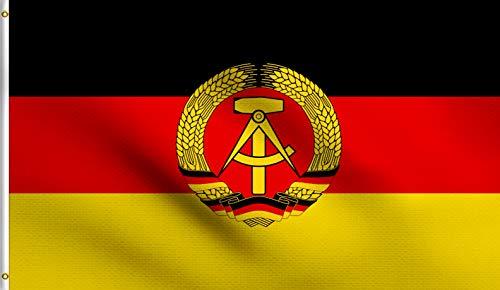 DMSE East Germany German Democratic Republic Flag 3X5 Ft Foot 100% Polyester 100D Flag UV Resistant (3