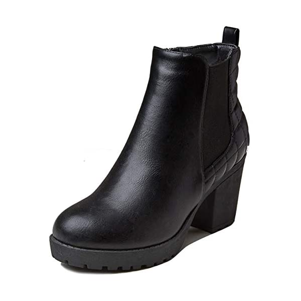 DailyShoes Women's Chelsea Bootie Triangle V Elastic Panel Slip On Round Toe Buckle Strap Chunky Heel Ankle Boots