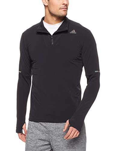 adidas Herren Sn 1/2 Zip Langarm T-Shirt, schwarz (Black), L