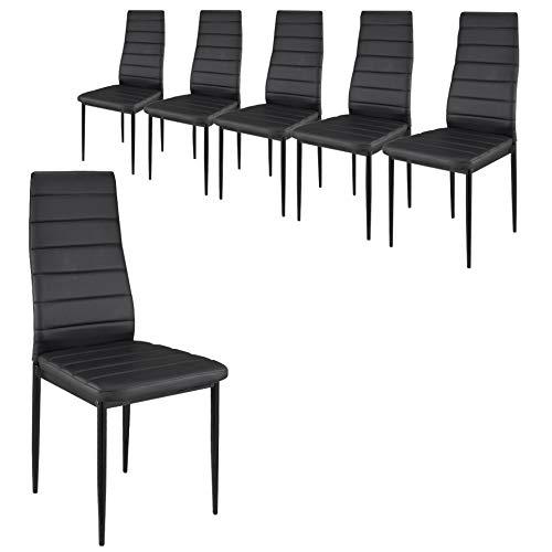 –Juego de sillas (piel sintética: juego de 2,4,6y 8), negro, Lot de 6