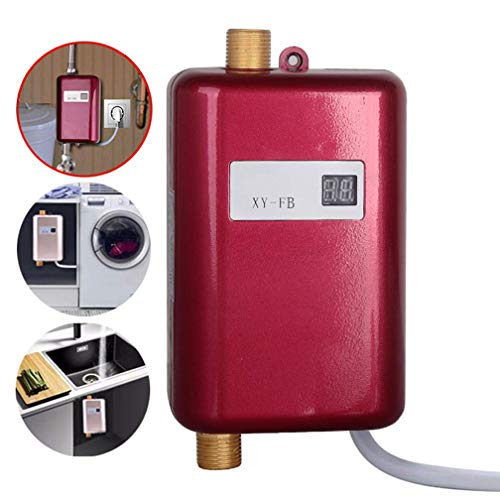 Momentane elektrische Wasser-Heizung, Durchlauferhitzer, LCD Digital Display mit Hintergrundbeleuchtung Kopf Küche mit Badezimmer mit Dusche, 3 Sekunden heiß,Red,3000W