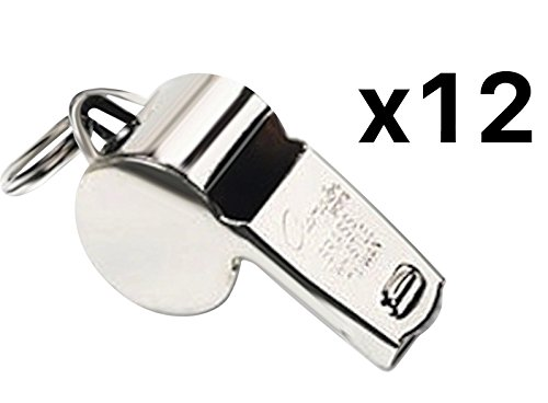 Champion Sports Heavy Weight Metal Whistle Silver (Set of 12) Bundle with 1 Performall Lanyard 401-1P
