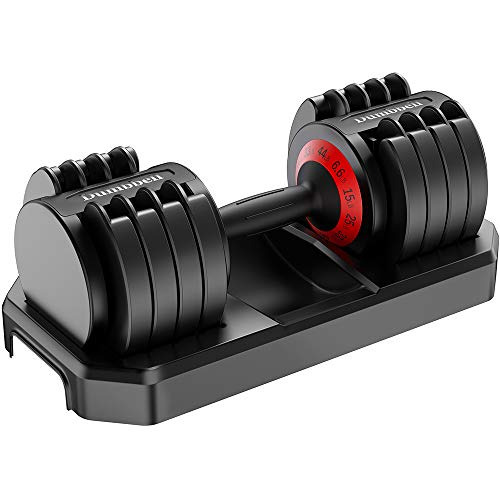 Hhusali 44 lbs Adjustable Dumbbell with Fast Automatic Adjustable Weights for Body Workout Home Gym Single