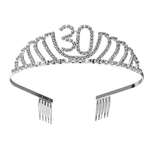 Frcolor Couronne Anniversaire 30 Ans Tiare Diadème Princesse avec Peigne Strass Cristal (argent)