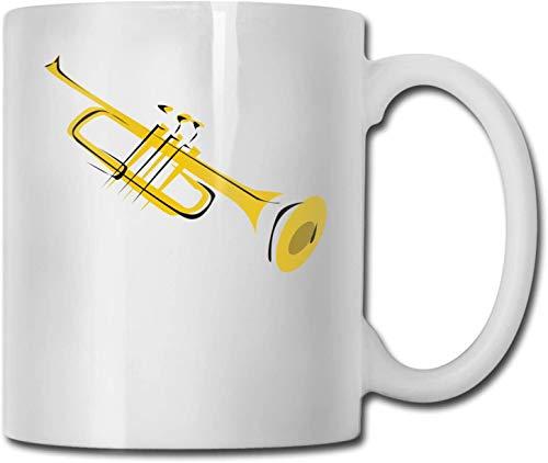 Trompete Clip Art Einzigartige Keramik weiße Kaffeetasse Teetasse für Büro Home Fun Neuheit Geschenk 11 Unzen lustige Getränketasse für Männer Frauen