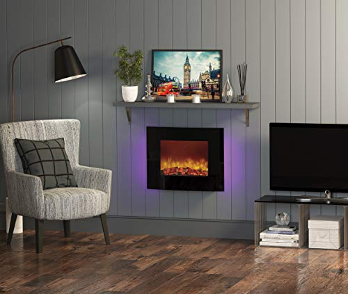 """25"""" Quattro Wall Mounted Fire Curved Black Glass"""