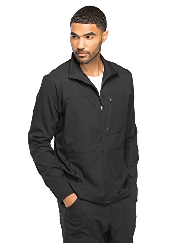 Dickies Dynamix Men's Zip Front Warm-Up Solid Scrub Jacket Large Black