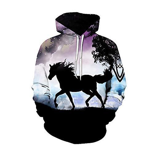 SZXZS Coole Pullis Unisex Tier Hoodies Männer Frauen 3D Druck lässige T-Shirts Sweatshirts Teenager Baseball Uniformen-Pferd_S