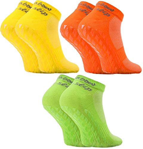 Rainbow Socks - Hombre Mujer Calcetines Deporte ABS - 3 Pares - Amarillo Verde Naranja - Talla 42-43