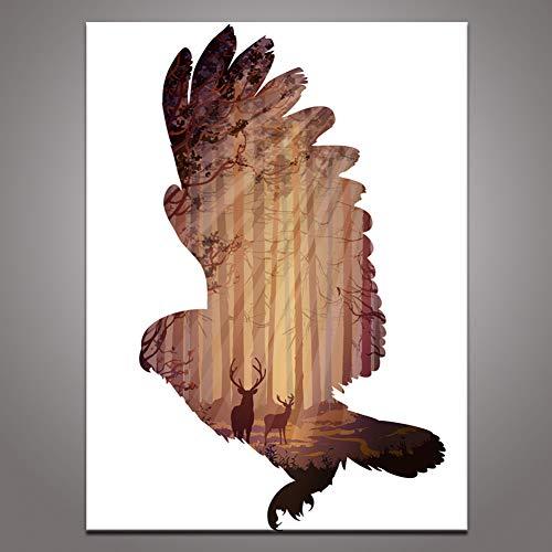 GUDOJK muurschildering adelaar met hert kunnen vas afdrukken schilderij bruin abstract dier silhouet bos muurkunst afbeelding voor woonkamer decoratie 1 stuk 40x60cm(16x24inch)